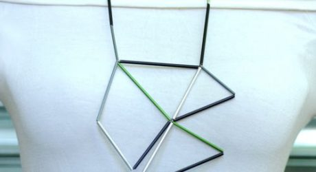 Aluminum and Leather Prism Necklace by Metalnat