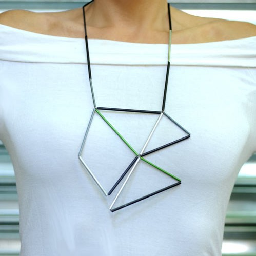 Aluminum and Leather Prism Necklace by Metalnat in style fashion  Category