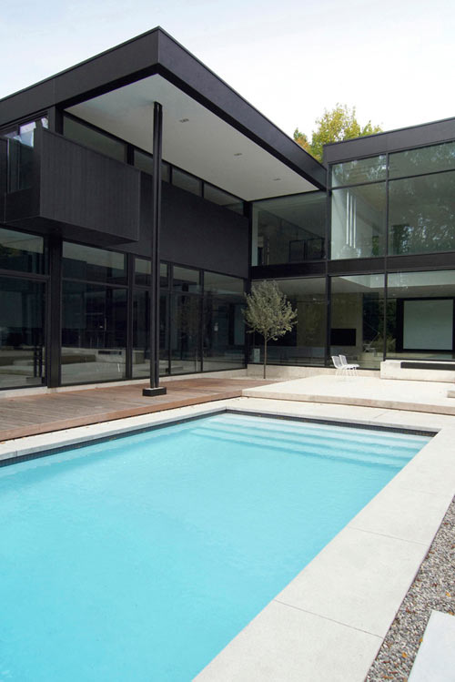 Modern Black and White Family Home in Canada by Guido Costantino