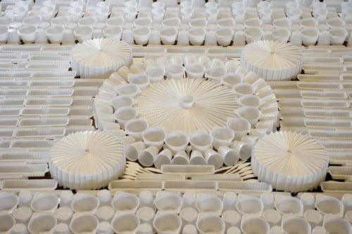 Giant Carpet Made from Disposable Plastic Tableware by We Make Carpets