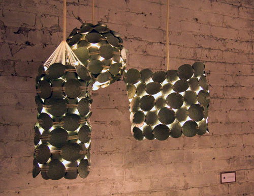 Recycled pendant lamps by kelly caruso design milk for Home decor recycled materials
