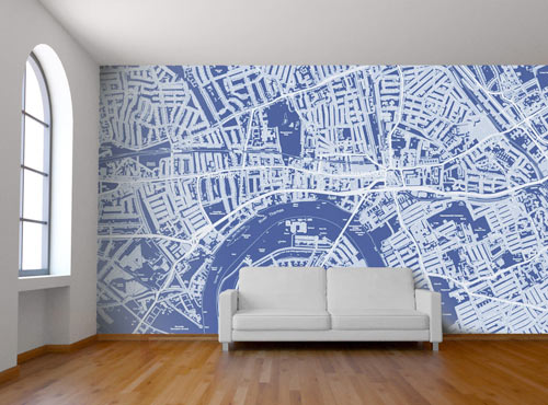 New Custom Map Wall Murals by Wallpapered