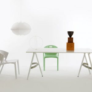 Bow Table and Bench by Benjamin Hubert for De La Espada