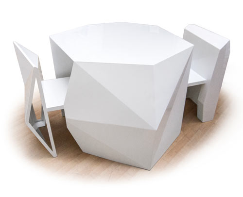 Sculptural Chairs Disappear Into Geometric Table ...