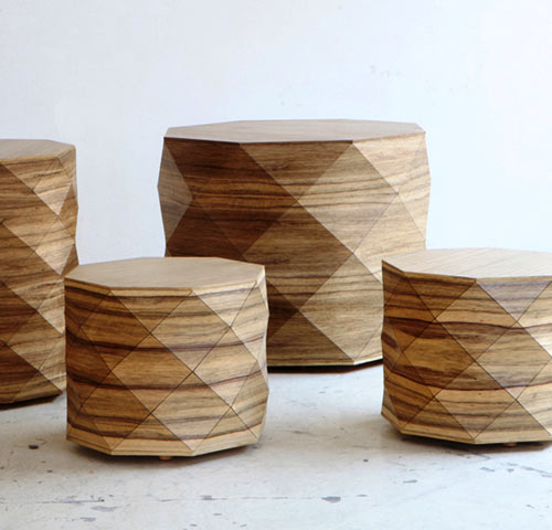 Diamond Woods Coffee Tables & Stools by Tesler + Mendelovitch