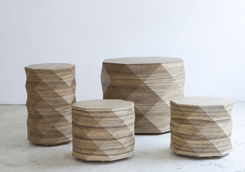 Diamond Woods Coffee Tables Stools by Tesler Mendelovitch