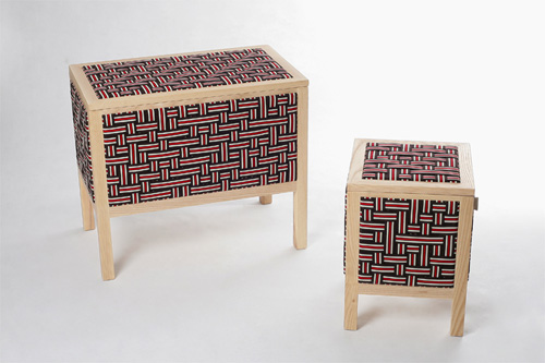 Furniture covered in elastic bands holds all your stuff for Furniture 80s band