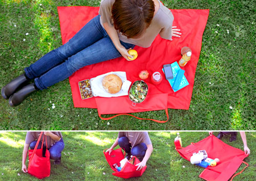 Yield Picnic Tote Bag Opens Up And Becomes A Blanket