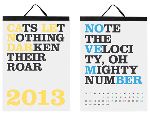 The Best 2013 Modern Calendars in style fashion home furnishings art  Category
