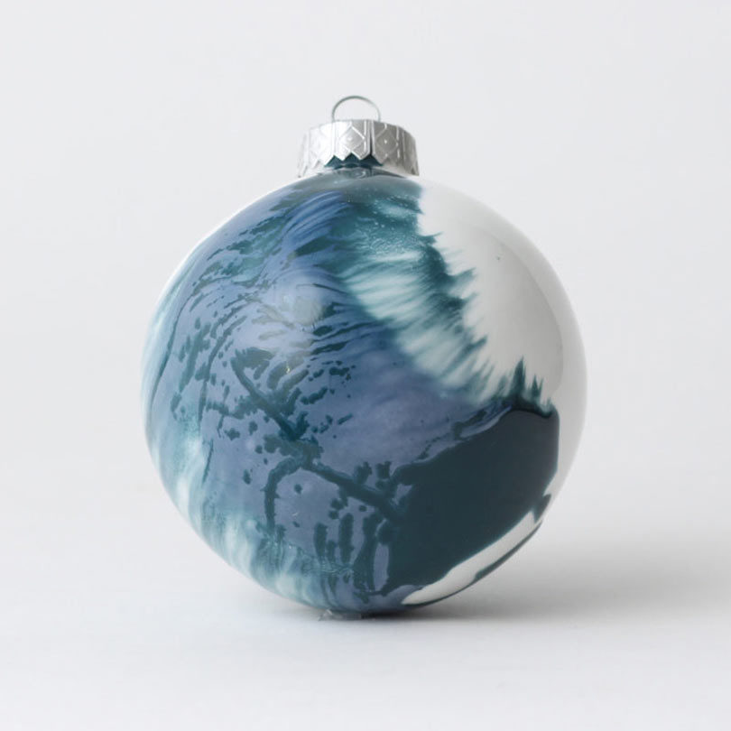 with swirls of blue and light grey the winters day bauble from reiko kaneko is made of fine bone china and due to the nature of the glazes each ornament - Blue Grey Christmas Decorations