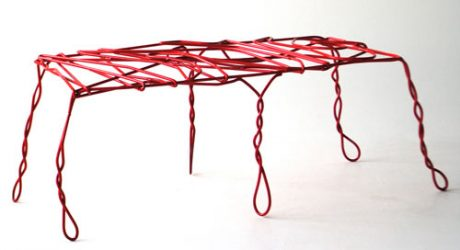 Thread Bench Made from Bent Metal by Ola Giertz