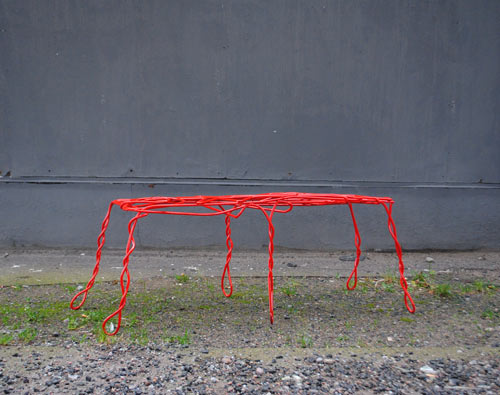 Thread Bench Made from Bent Metal by Ola Giertz in main home furnishings  Category