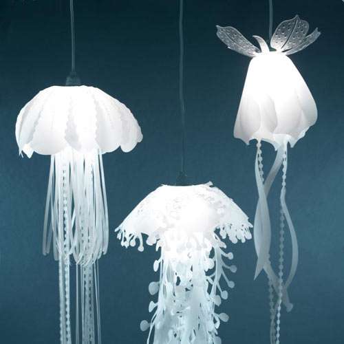 hanging lamps that look like jellyfish design milk