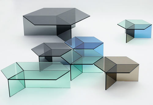 Hexagonal Glass Tables: Isom by Sebastian Scherer