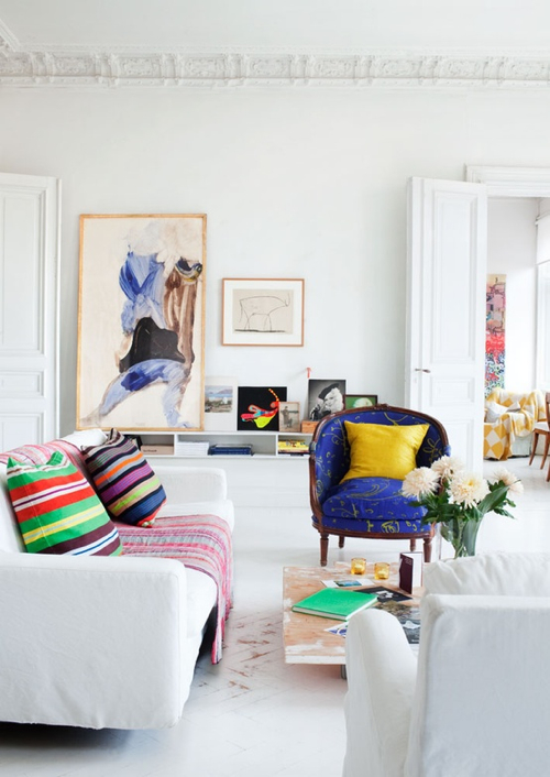 Decorating Ideas: 12 White Rooms with Pops of Color - Design Milk