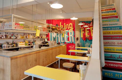 Type murals wishbone restaurant by shed design milk