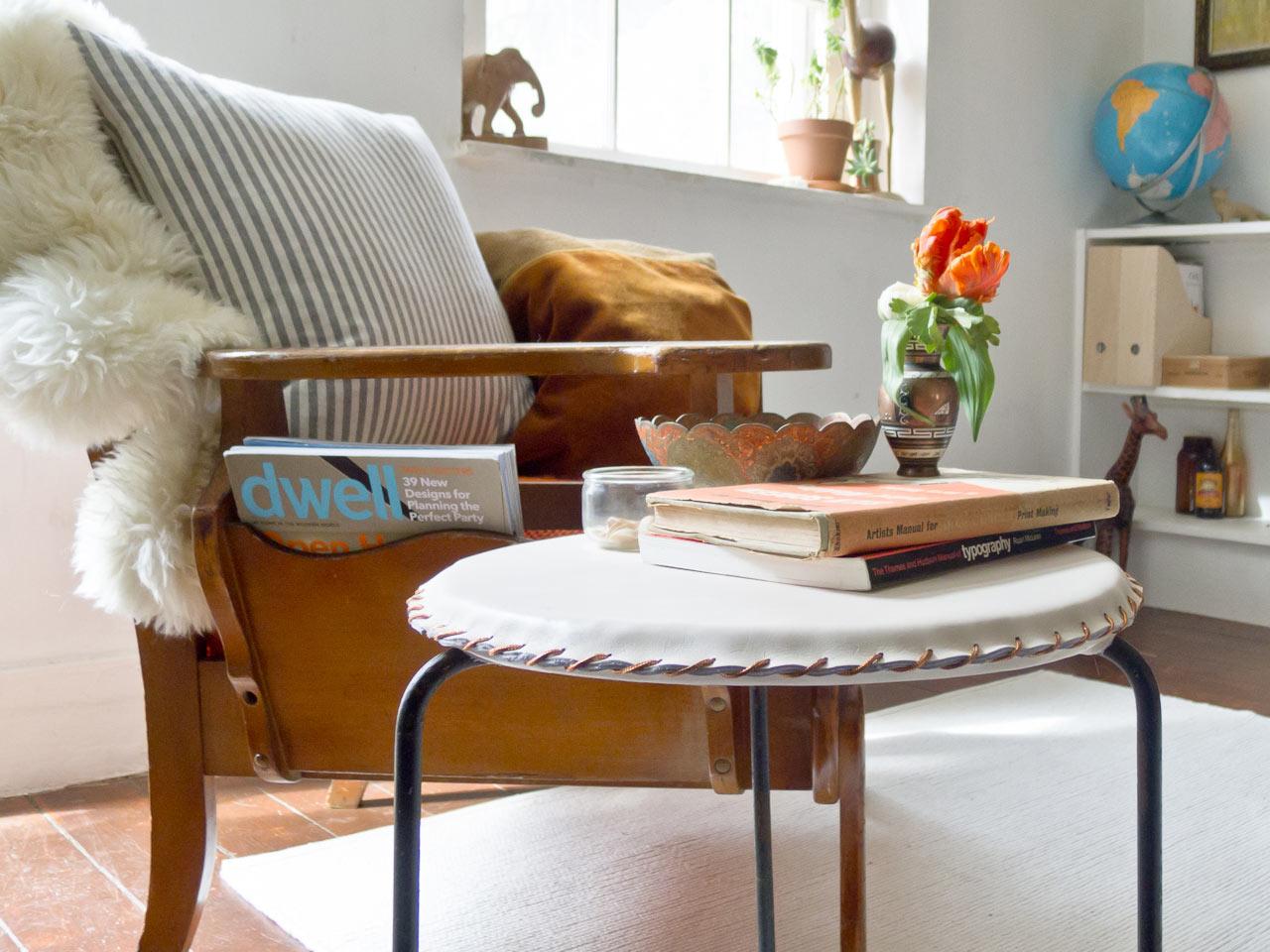 Make It Modern: DIY Minimal Leather Stool Cover