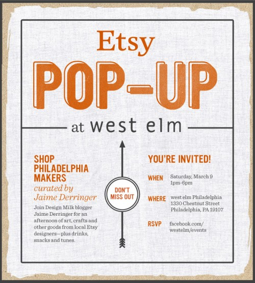 Reminder: This Weekend Etsy Pop Up at west elm Philly in news events home furnishings art  Category