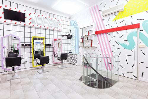 80s Style Hair Salons in Slovenia by Kitsch,Nitsch , Design Milk
