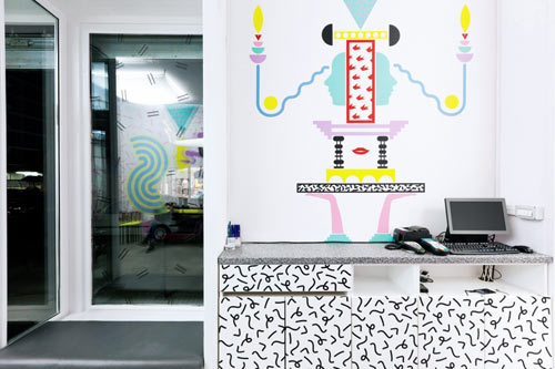 Daring 80s Style Hair Salons in Slovenia by Kitsch Nitsch in main interior design  Category