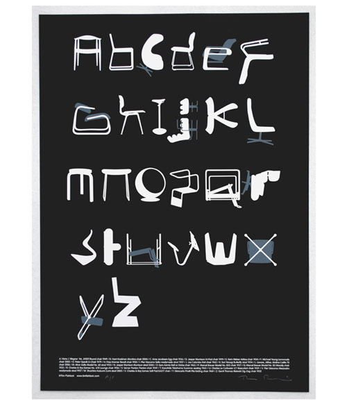 Chair Alphabet: Typeseat Print by Tim Fishlock