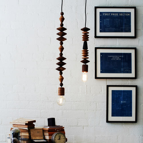 Bright Beads Wooden Lamps by Marz Designs
