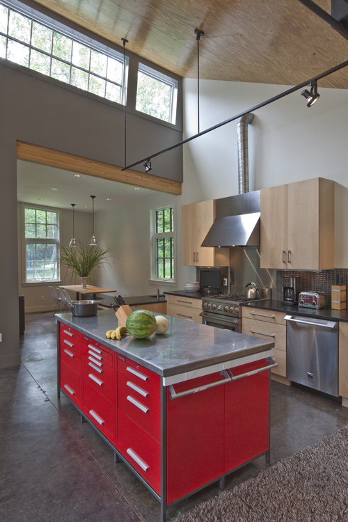 Architects Burr and McCallum created this red kitchen island from six