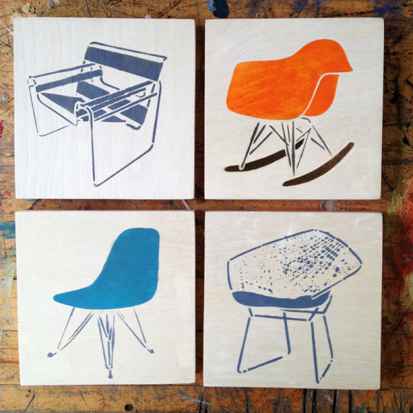 Chair Stencil Art Wood Panels Midcentury Modern