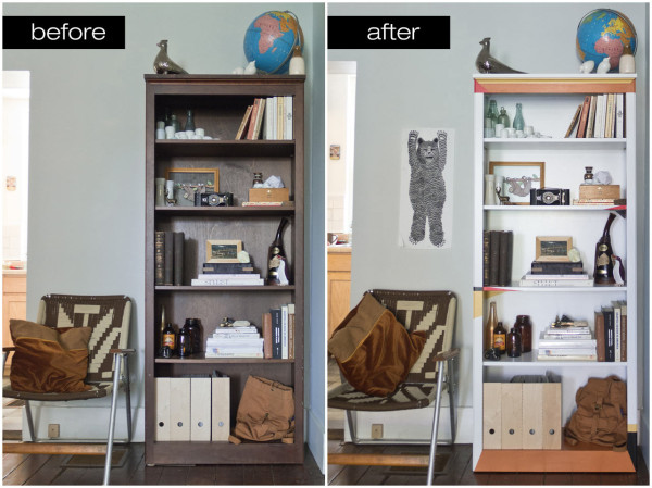 DIY Weaving Inspired Painted Bookcase