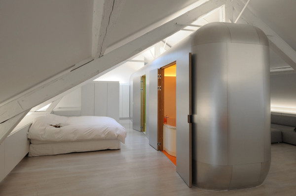 Airstream Inspired Living: Kempart Loft with Aluminum Pod by Dethier Architectures in main interior design architecture  Category
