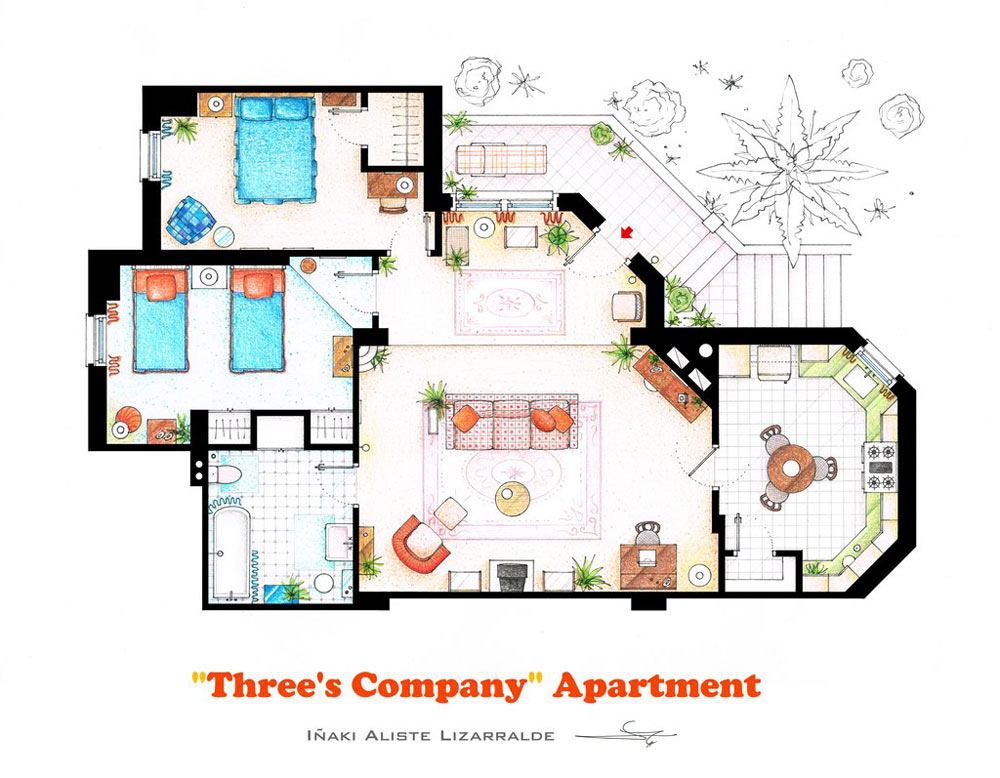 fantastic 2 room flat floor plan. 10 of Our Favorite TV Shows Home  Apartment Floor Plans Design Milk