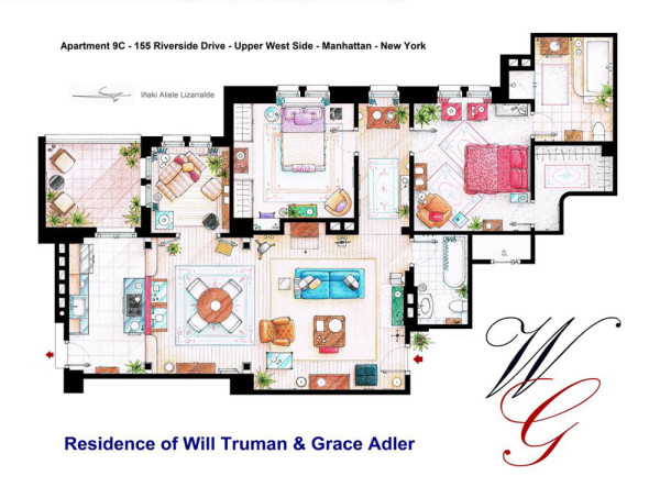 10 of Our Favorite TV Shows Home & Apartment Floor Plans in main interior design art architecture  Category