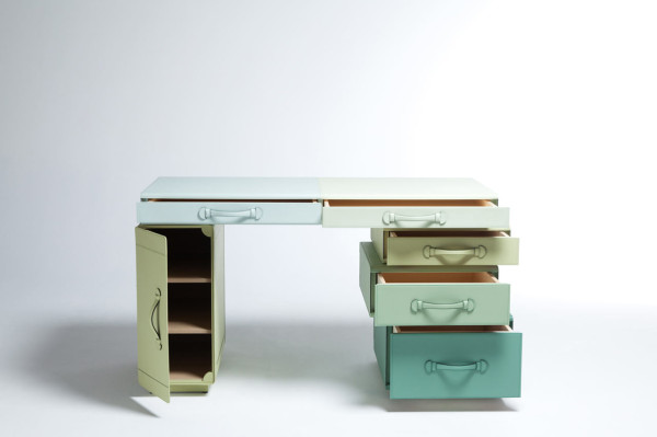 Desk of Briefcases - open