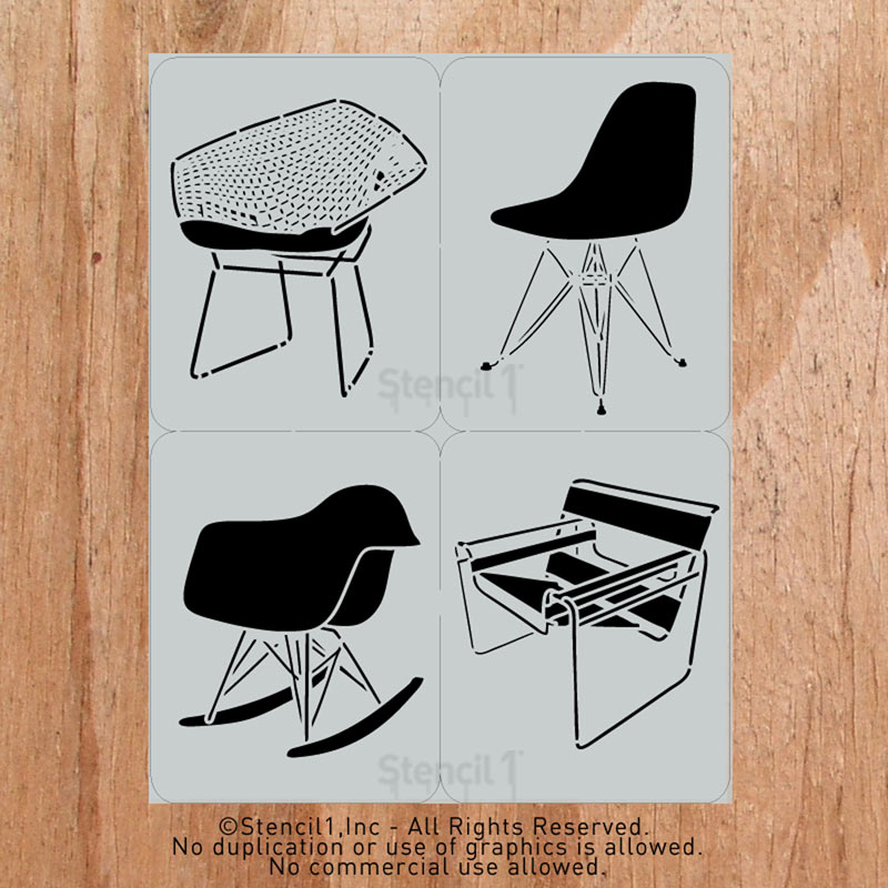Classic Mid-Century Chair Stencils by Stencil 1