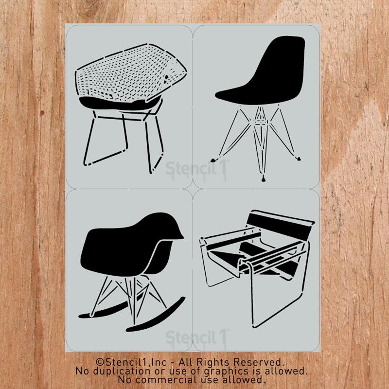 Classic Mid-Century Chair Stencils by Stencil 1