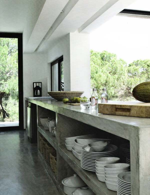 Kitchen Concrete Floor Ideas Part - 25: Concrete-kitchen-island-French-mag-Maison-Cote-Sud