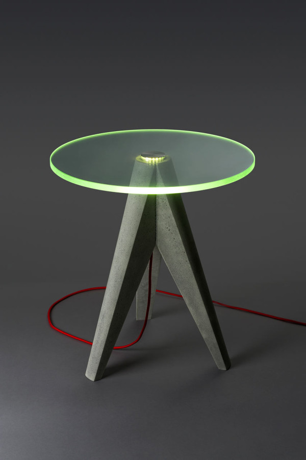 Holy Tristan Lighted Glass and Concrete Tables in main home furnishings  Category