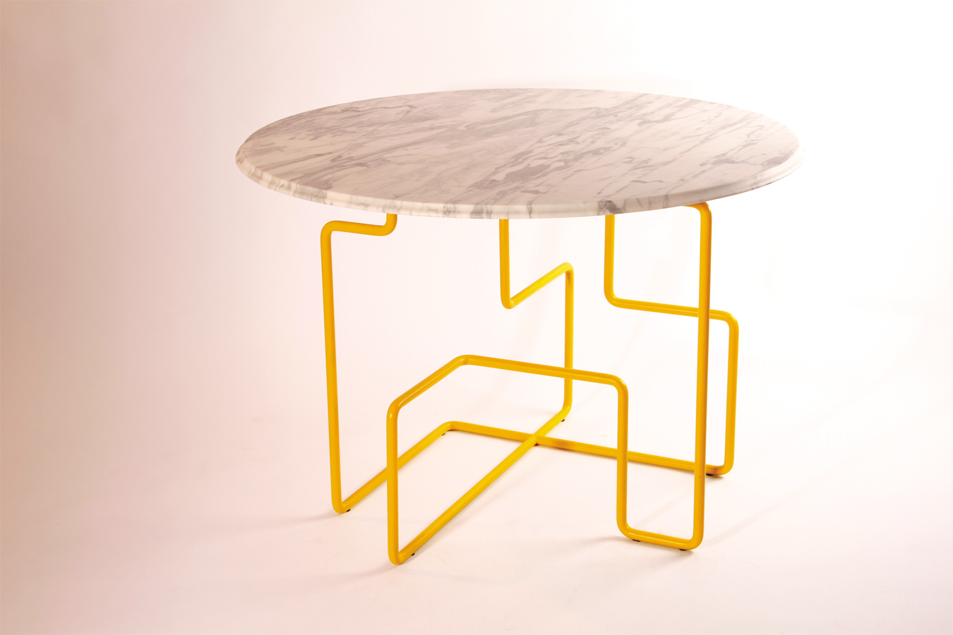 KST Dining Table by Livius H228rer and Ada Ihmels Design Milk : marble top yellow base table 1 from design-milk.com size 1350 x 900 jpeg 370kB