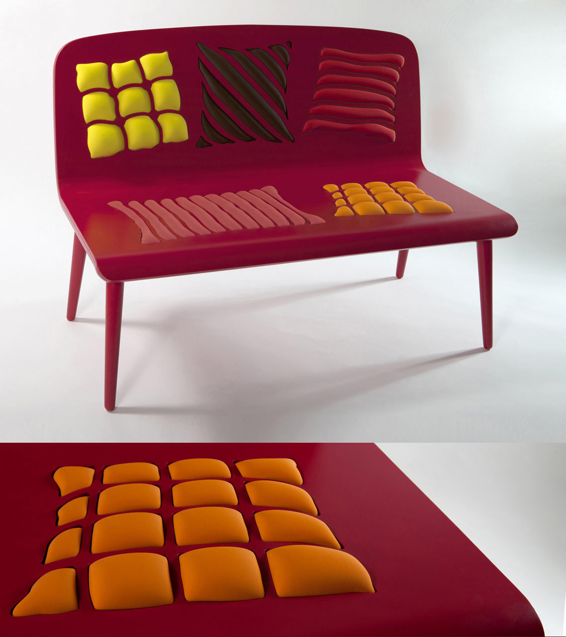 Poppins: Op Art Bench from Alessandra Baldereschi
