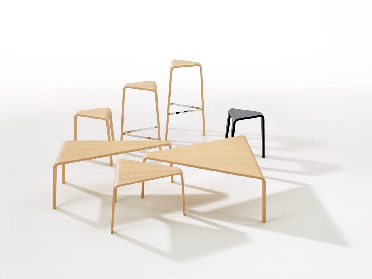 Ply stools and tables by Lievore Altherr Molina