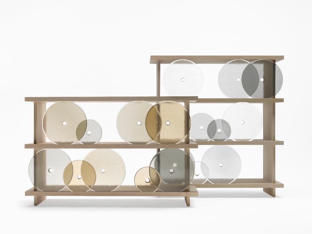 Rotating Glass Discs Shelving Unit by Nendo