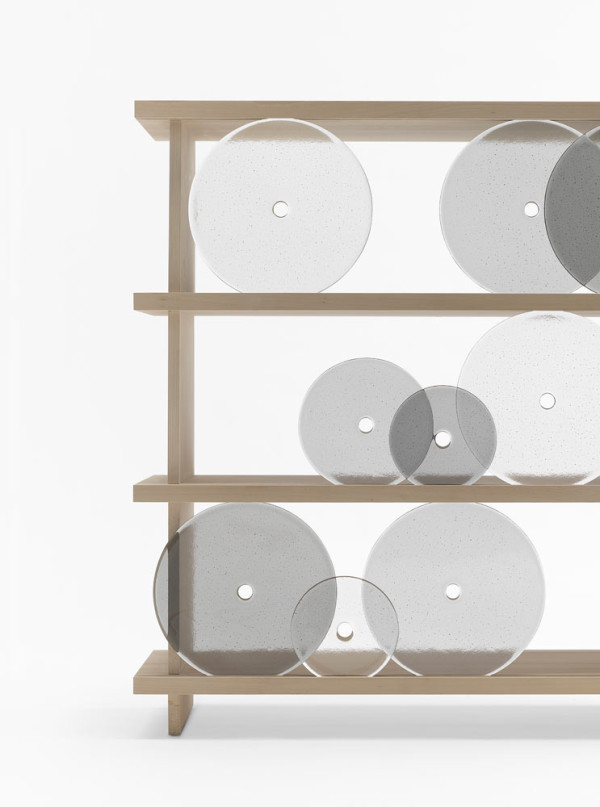 Rotating Glass Discs Shelving Unit by Nendo in main home furnishings  Category