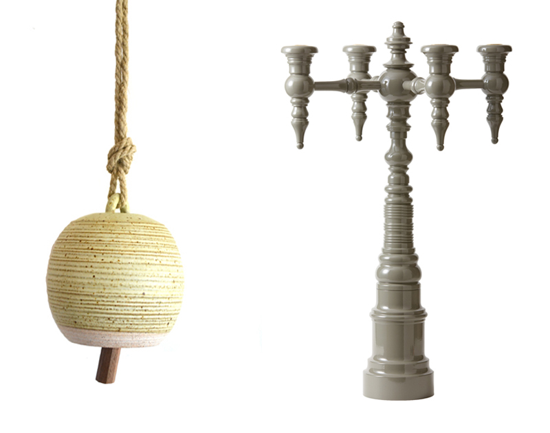 Left: Michele Quan Throw Bell  |  Right: Dunes & Duchess Candelabra
