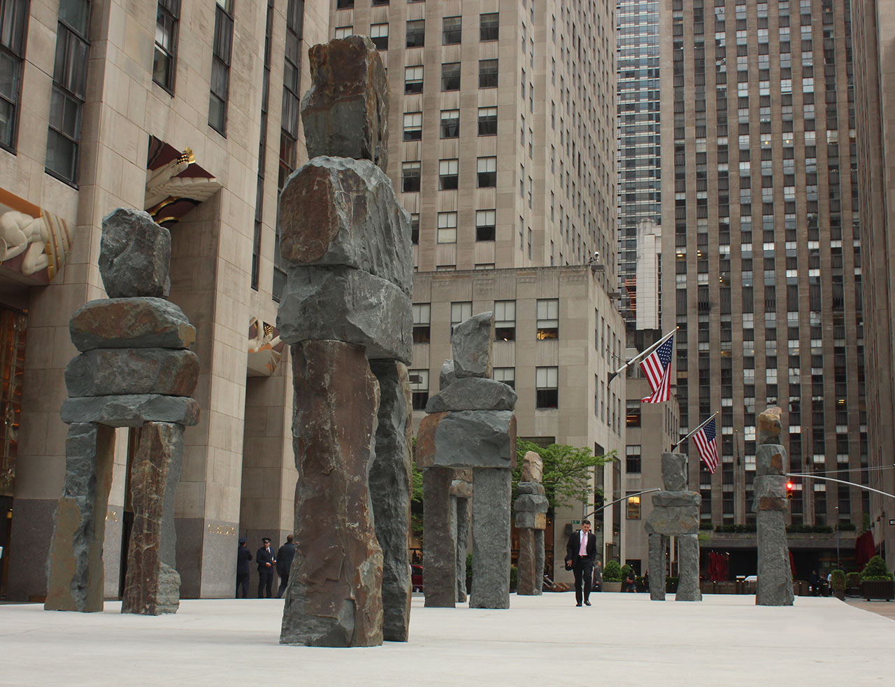 """Human Nature"" by Ugo Rondinone in Rockefeller Plaza"