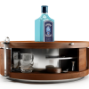 The main body opens to high quality bar tools, glassware, removable cutting boards, coasters and custom made aluminum tongs that double as a locking mechanism. There's even room for ice and garnish for your cocktails.