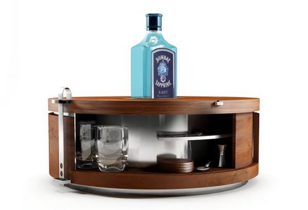 Bombay Sapphire gin modern minibar