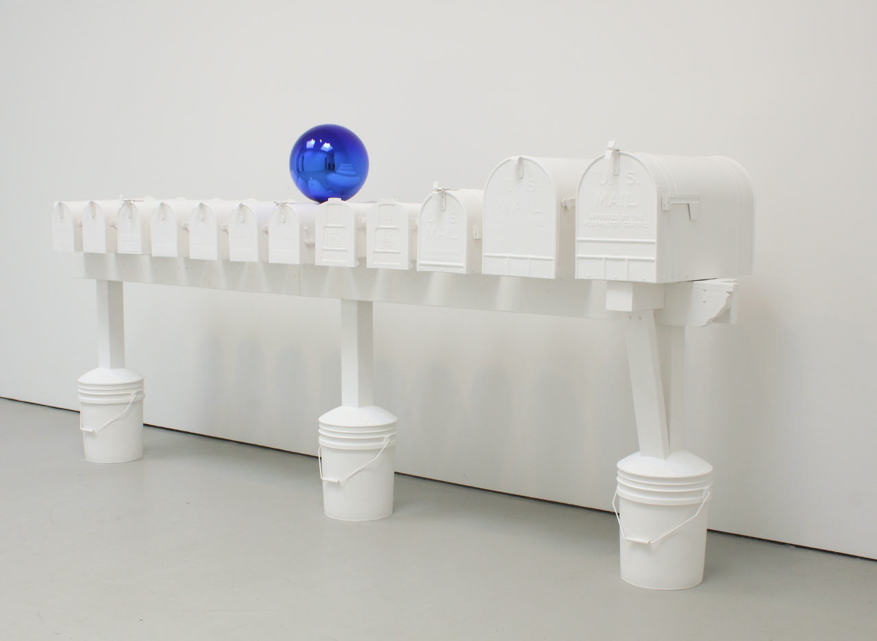 "Jeff Koons ""Gazing Ball (Mailboxes)"" 2013, Plaster and glass. © Jeff Koons. Courtesy David Zwirner Gallery"