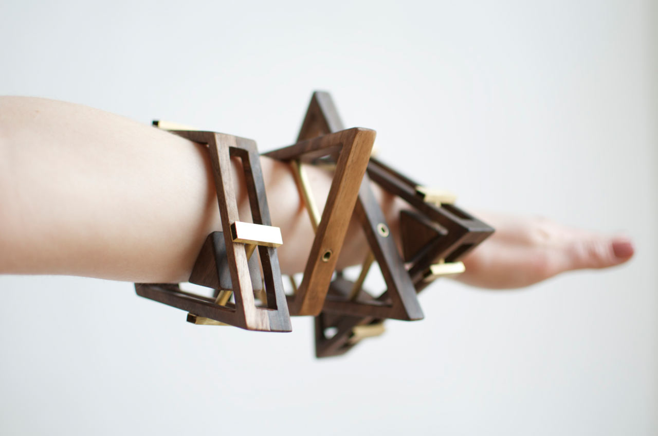 Sticks+Stones Walnut & Brass Jewelry by Simone Ferkul