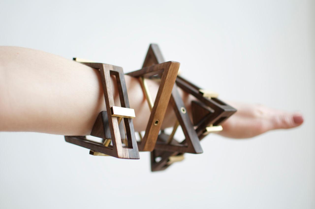 Sticks+Stones Walnut & Brass Jewelry by Simone Ferkul