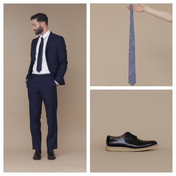 Clockwise from left: Jill Sander suit and tie with Grenson boots, Jill Sander Hex Blue tie, Common Projects derbies